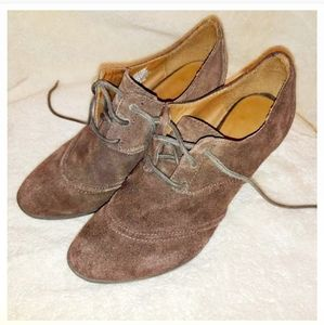 Sonoma Brown Suede Leather Lace up Heel Booties